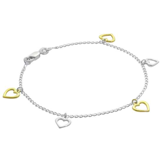 Sterling Silver Gold Plated Heart Drop 7 Inch Bracelet