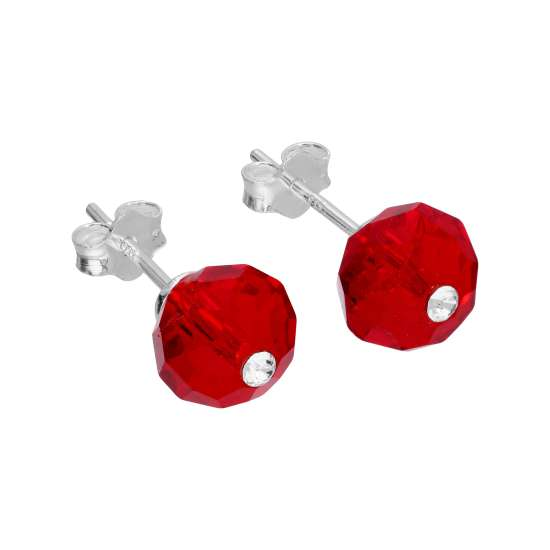 Sterling Silver Red Crystal Bead Stud Earrings