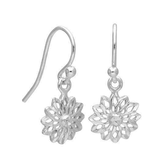 Sterling Silver Flower Chakra Drop Dangle Earrings