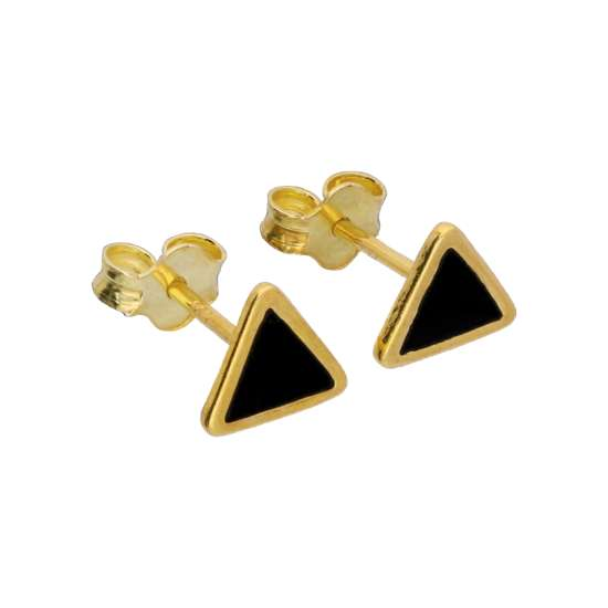 Gold Plated Sterling Silver Black Enamel Triangle Stud Earrings