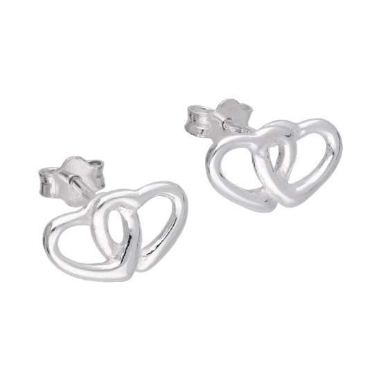Sterling Silver Double Interlocking Heart Stud Earrings