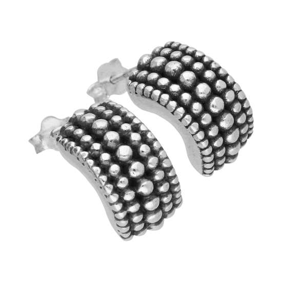 Sterling Silver Thick Oxidised Huggie Stud Earrings