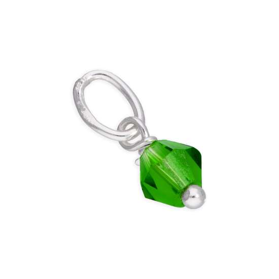 Sterling Silver Green Crystal Bead Charm