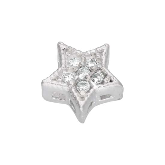 Sterling Silver Star Clear CZ Floating Charm