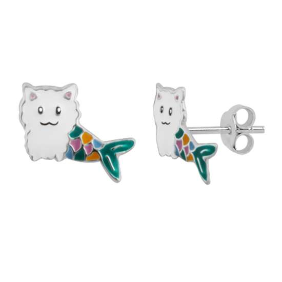 Sterling Silver Cat Mermaid Rainbow Tail Enamel Stud Earrings