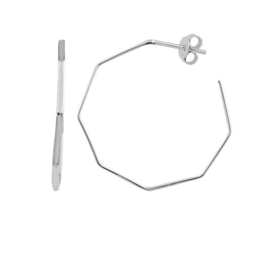 Sterling Silver Geometric Octagon Open Stud Hoop Earrings