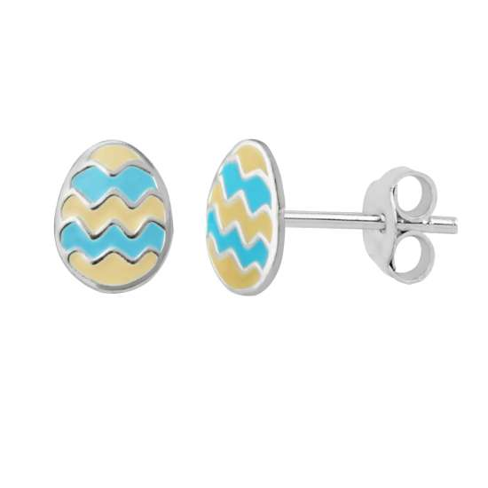 Sterling Silver Enamel Zigzag Easter Egg Stud Earrings