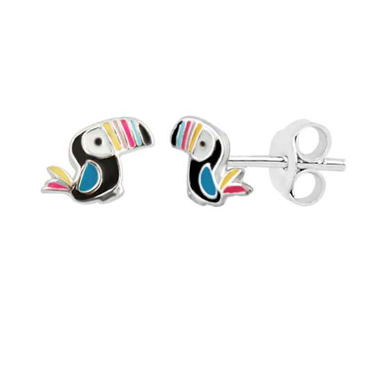 Sterling Silver Colourful Toucan Bird Rainbow Enamel Stud Earrings