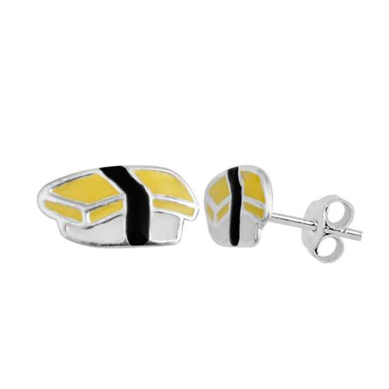 Sterling Silver Egg Sushi Enamel Stud Earrings