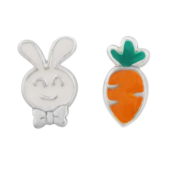 Sterling Silver Mix & Match Rabbit Carrot Enamel Stud Earrings