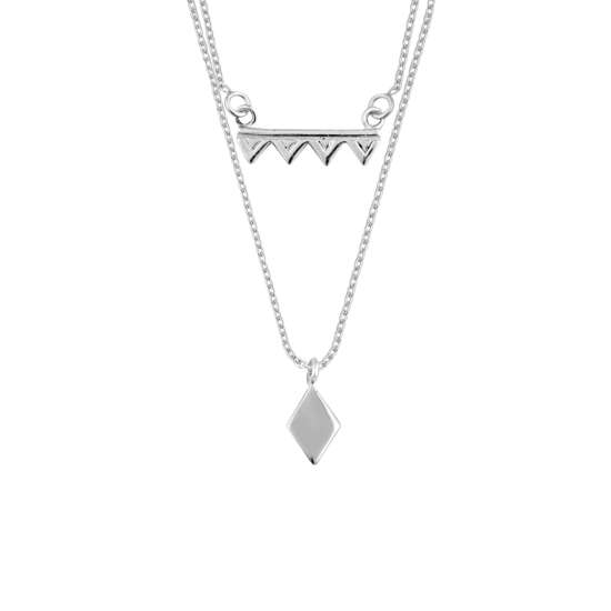 Sterling Silver Double Layer Geometric Triangle Diamond Necklace