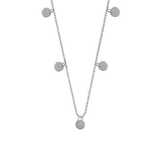 Sterling Silver Multiple Round Circle Disc Charms Necklace