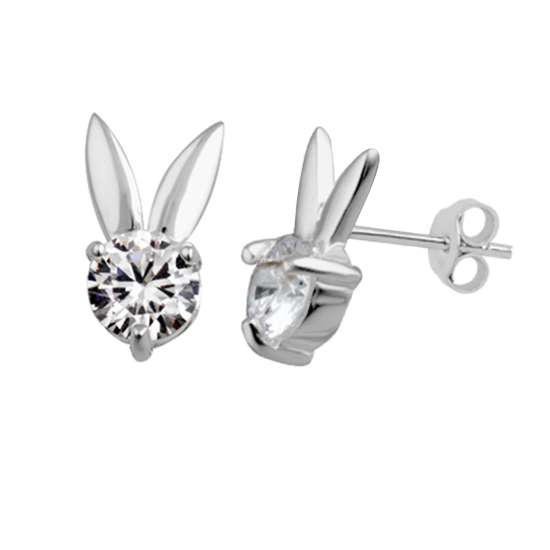 Sterling Silver & CZ Crystal Bunny Rabbit Stud Earrings