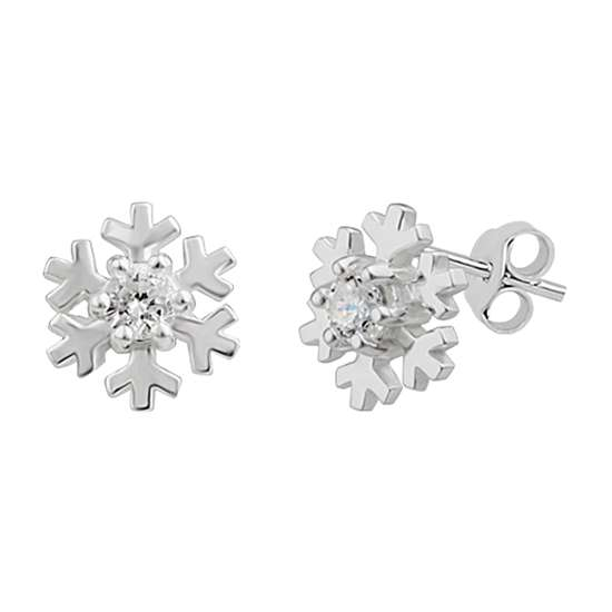 Sterling Silver Snowflake Stud Earrings with CZ Crystal