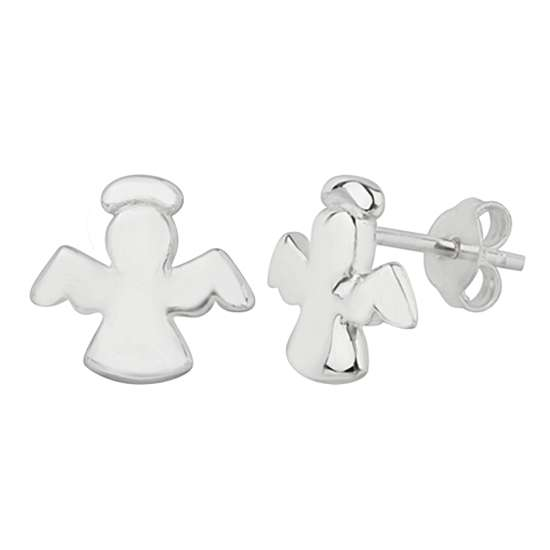 Small Sterling Silver Flying Angels Stud Earrings