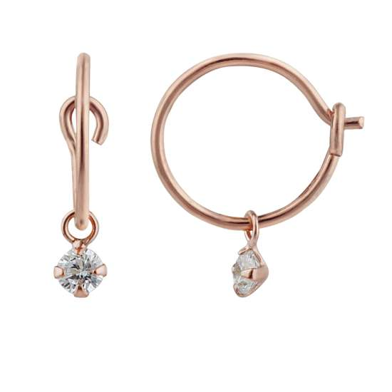 Rose Gold Plated Sterling Silver & CZ 3mm Crystal Hoop Earrings