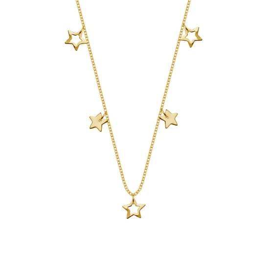 Gold Plated Sterling Silver Stars 18 Inch Necklace