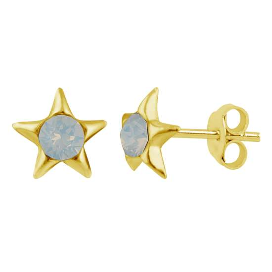 Gold Plated Sterling Silver & Faux Opal Star Stud Earrings