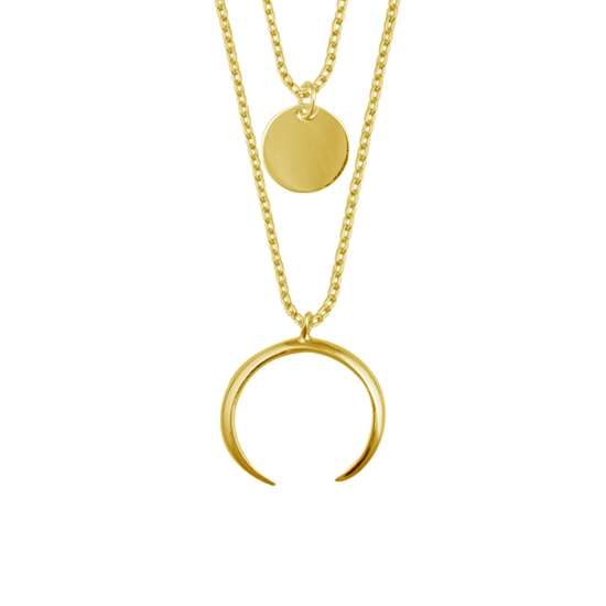 Yellow Gold Plated Sterling Silver Multi Double Layer Round Disc Horn Crescent Pendant Necklace