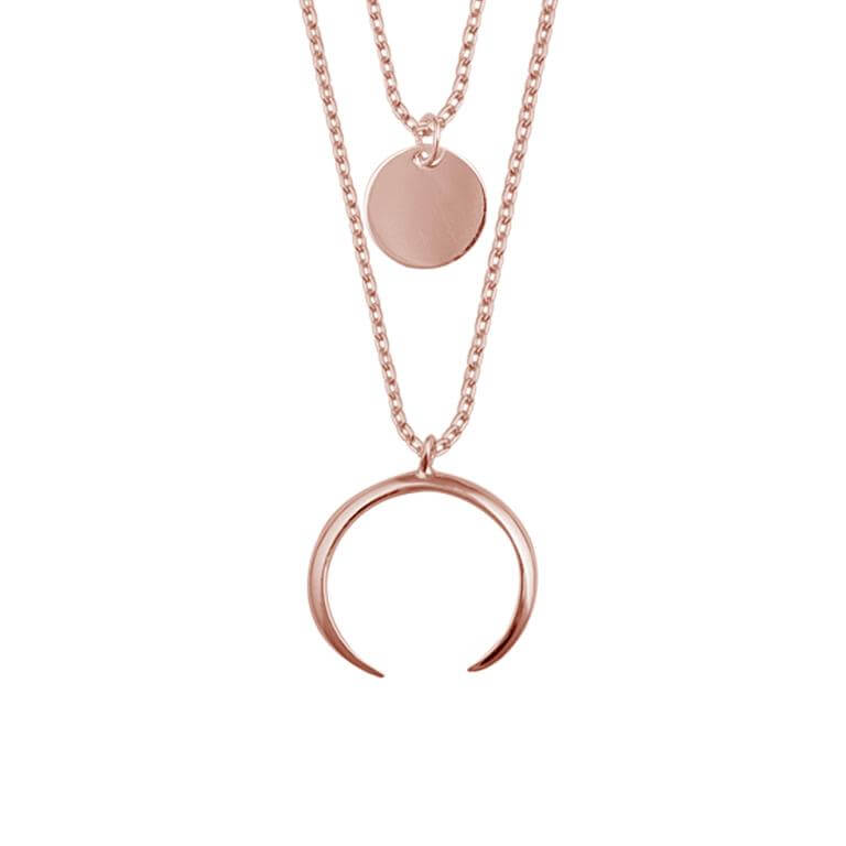 Rose Gold Plated Sterling Silver Multi Double Layer Round Disc Horn Crescent Pendant Necklace