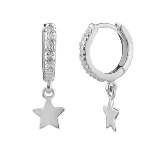 Sterling Silver Star Charm Huggie Hoop Earrings