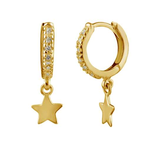 Gold Plated Sterling Silver Star Charm Huggie Hoop Earrings