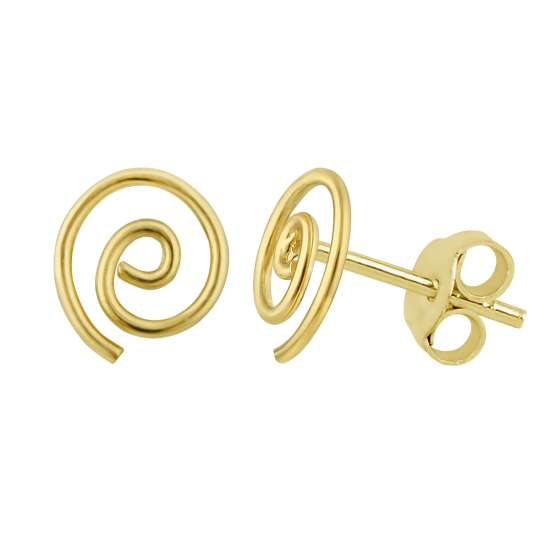 Yellow Gold Plated Sterling Silver Open Spiral Swirl Handmade Stud Earrings