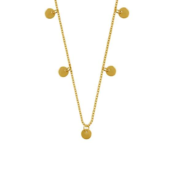 Yellow Gold Plated Sterling Silver Multiple Round Circle Disc Charms Necklace
