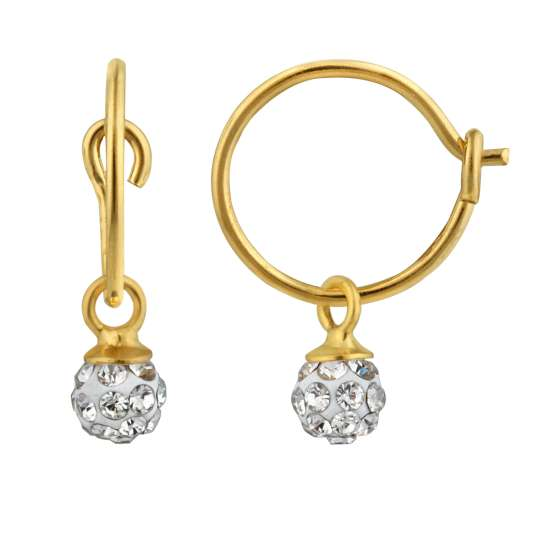 Yellow Gold Plated Sterling Silver & 4mm Crystal Ball Charm Hoop Earrings
