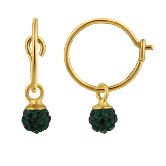 Yellow Gold Plated Sterling Silver & 4mm Green Crystal Ball Charm Hoop Earrings