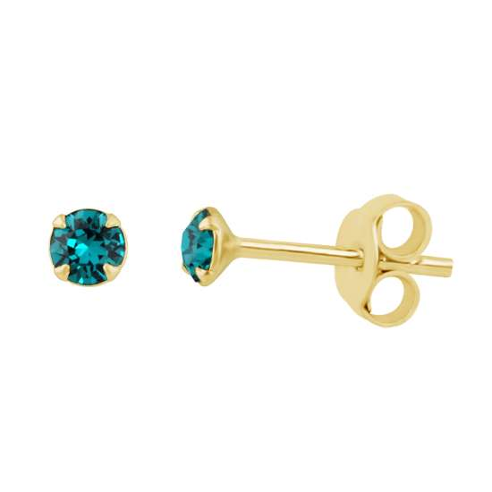 Gold Plated Sterling Silver Blue Zircon 3mm CZ Crystal Claw Set Stud Earrings