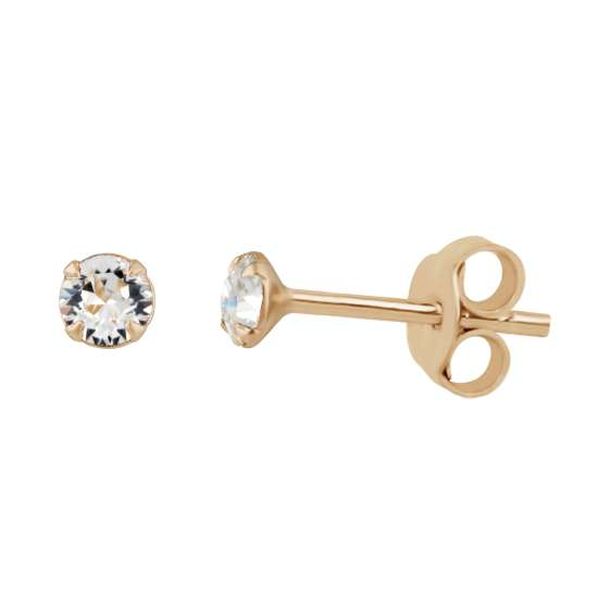 Rose Gold Plated Sterling Silver Clear 3mm CZ Crystal Claw Set Stud Earrings
