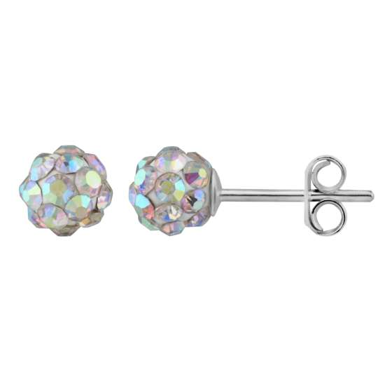 Sterling Silver & 5mm Aurora Borealis CZ Crystal Ball Stud Earrings