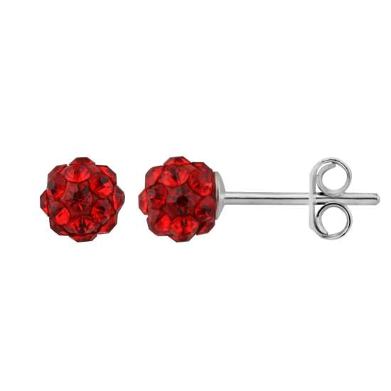 Sterling Silver & 5mm Light Siam CZ Crystal Ball Stud Earrings