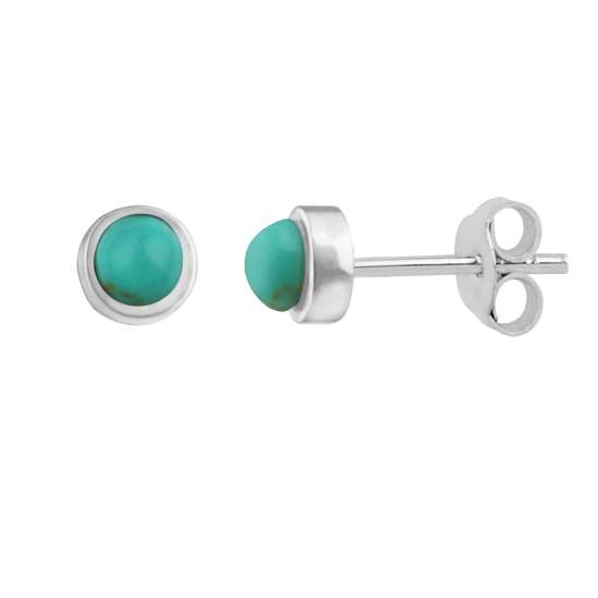 Sterling Silver Faux Turquoise Ball Stud Earrings