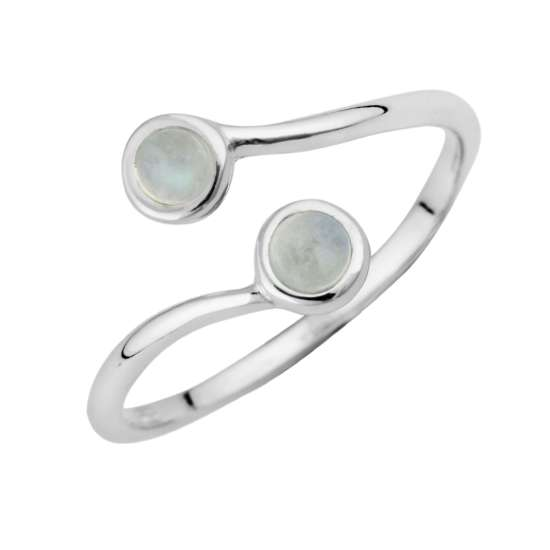 Sterling Silver & Moonstone Adjustable Ring