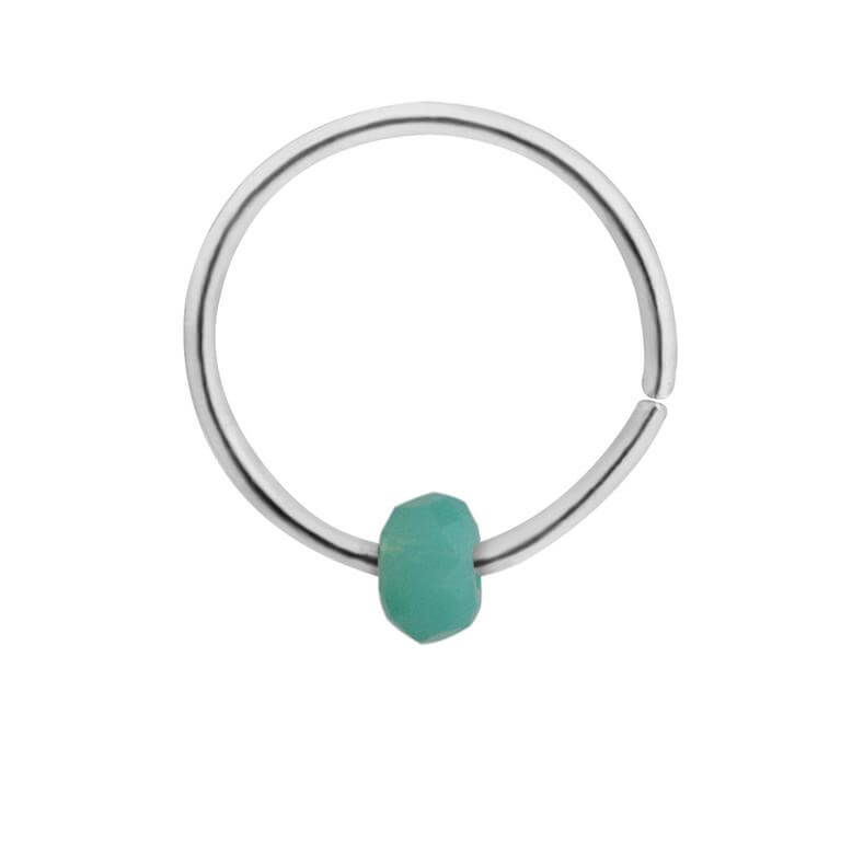 Sterling Silver & Faux Turquoise Bead Nose Ring