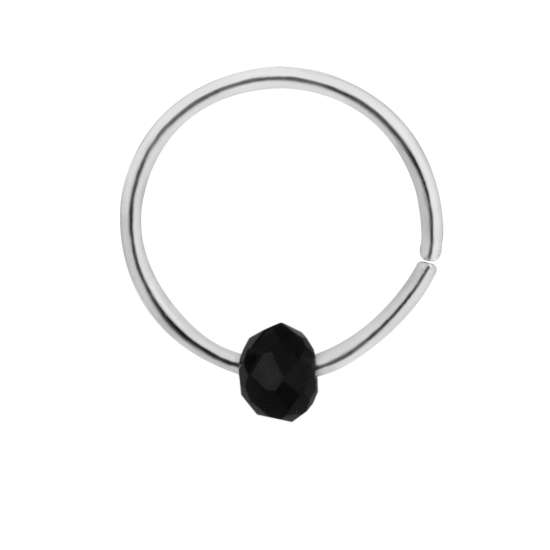 Sterling Silver & Black Stone Bead Nose Ring