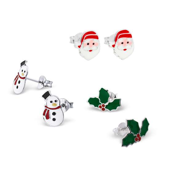 Sterling Silver 3 Pack Christmas Stud Earring Set