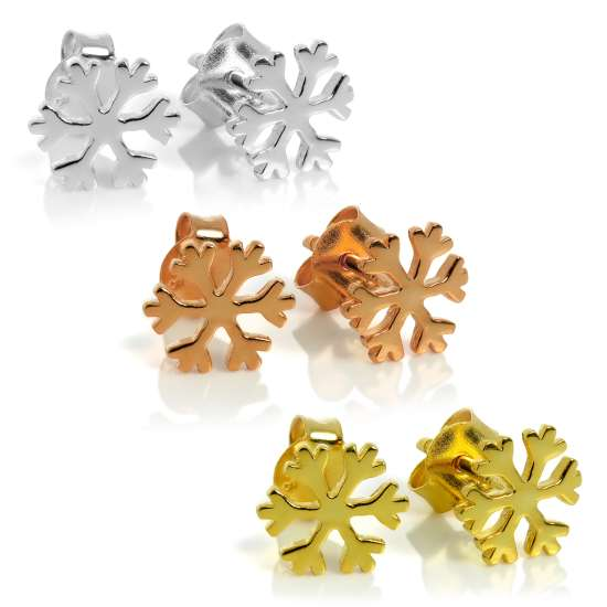 Sterling Silver Triple Snowflake Stud Earring Set