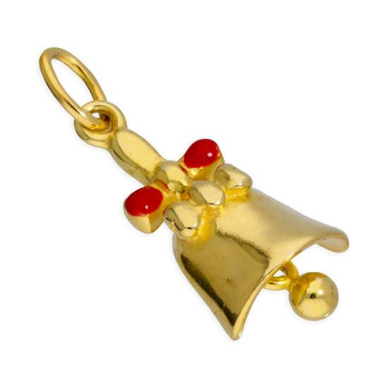 Gold Plated Sterling Silver Jingle Bell Bow Charm