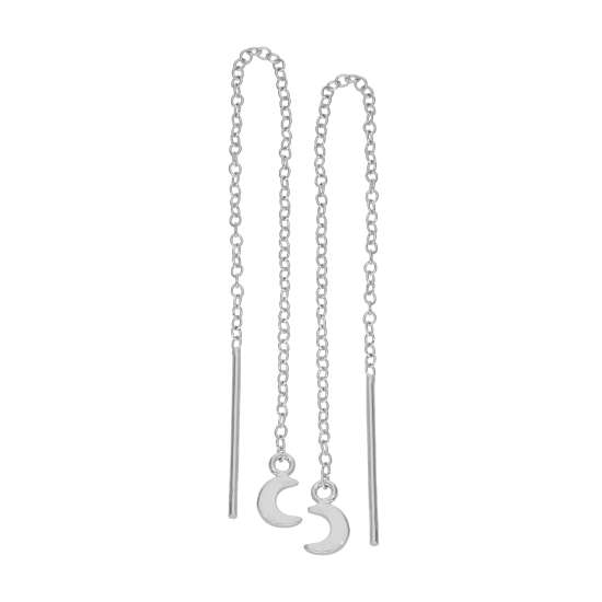 Small Sterling Silver Flat Moon Pull Through Earrings