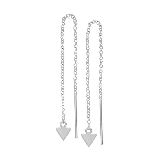 Small Sterling Silver Flat Triangle Pull Through Earrings