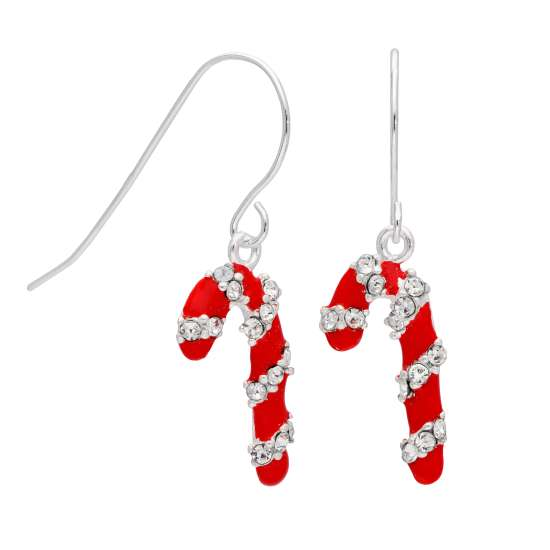 Sterling Silver Candy Cane CZ Red Enamel Drop Earrings