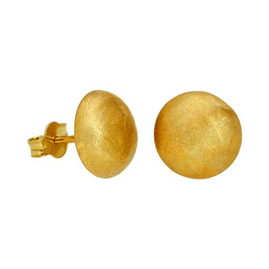 Yellow Gold Plated Sterling Silver Matt Half Ball Stud Earrings