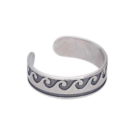 Sterling Silver Waves Oxidised Toe Ring