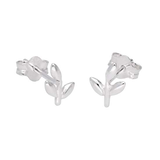 Sterling Silver Cute Leaf Stud Earrings