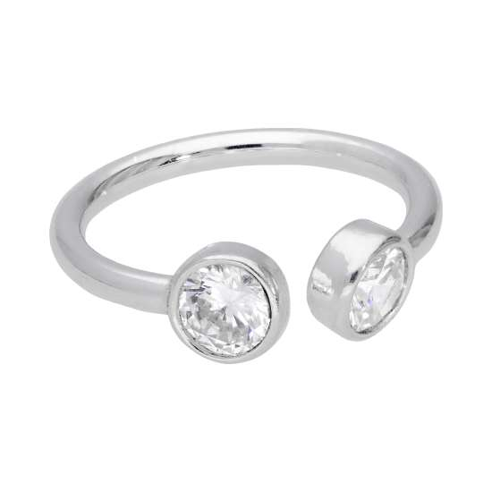 Sterling Silver Clear Round CZ Open Adjustable Ring
