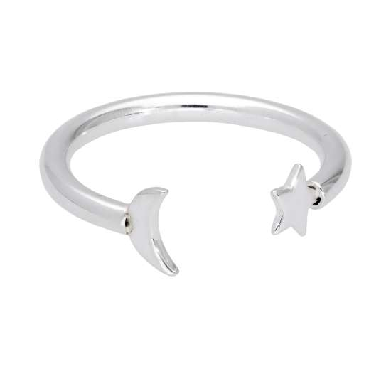 Sterling Silver Moon & Star Open Adjustable Ring