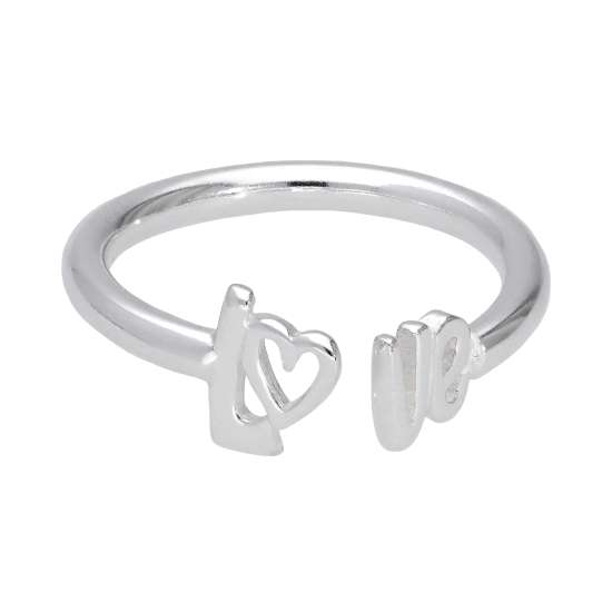 Sterling Silver LOVE Open Adjustable Ring